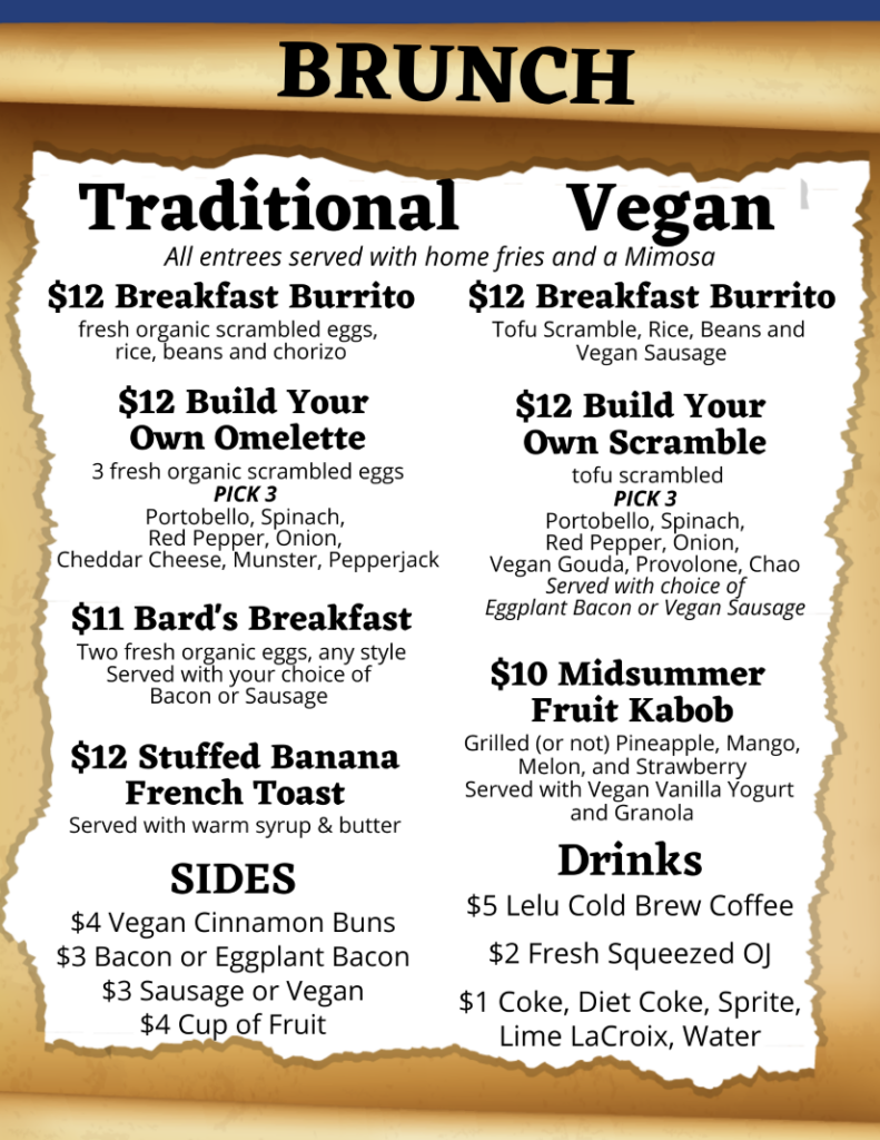 Hamlet's Eatery brunch menu in Sarasota, FL