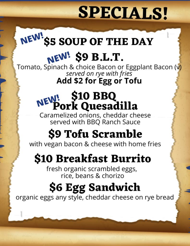 Specials menu in Sarasota, Florida