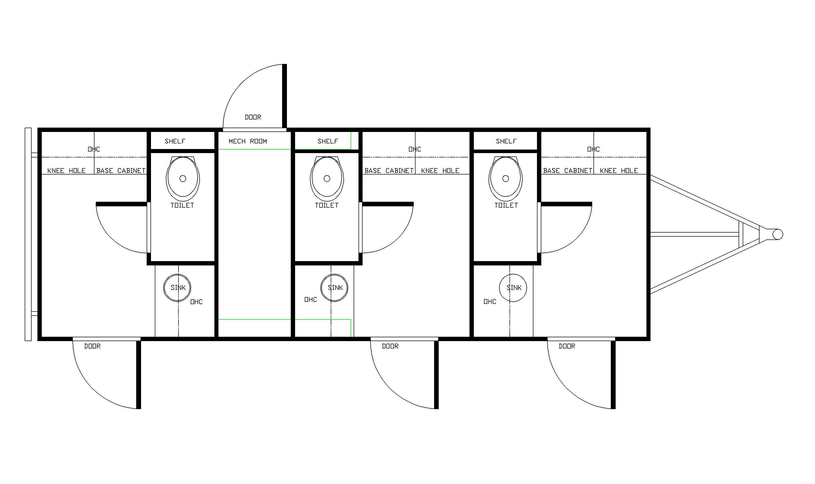 three station drug testing trailer floor plan