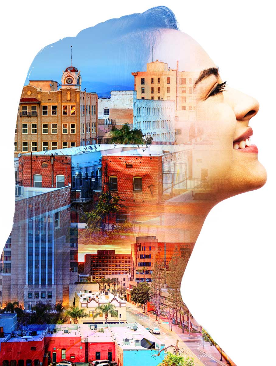 Girl profile looking upward with creative mask overlay