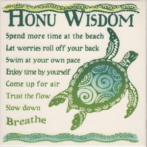 "Banana Patch Studio Honu Wisdom 6"" Hand Painted Ceramic Tile"