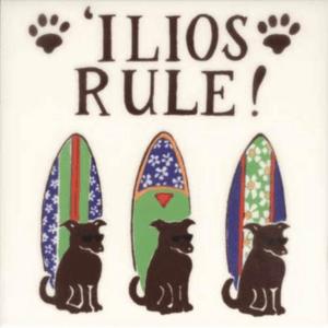 Ilios Rule Dog Surfboard Tile