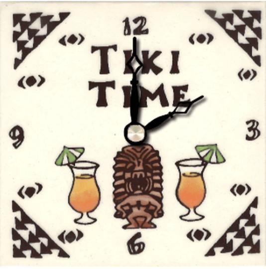 """Tiki Time 4"""" Clock"""