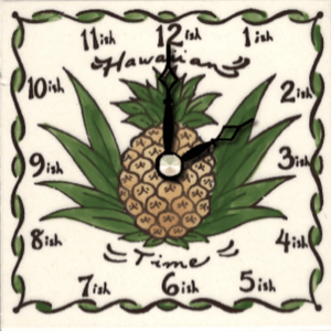 "Hawaiian Time Pine 4"" Clock"