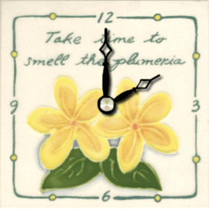 "Take Time Plumeria 4"" Clock"