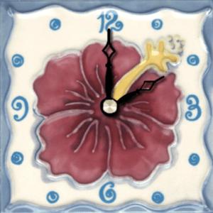 "Pink Hibiscus 4"" Clock"