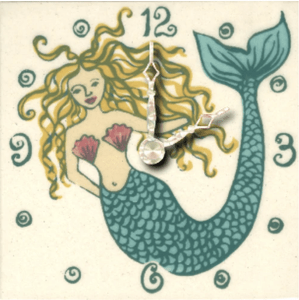 "Tropical Mermaid 4"" Clock"