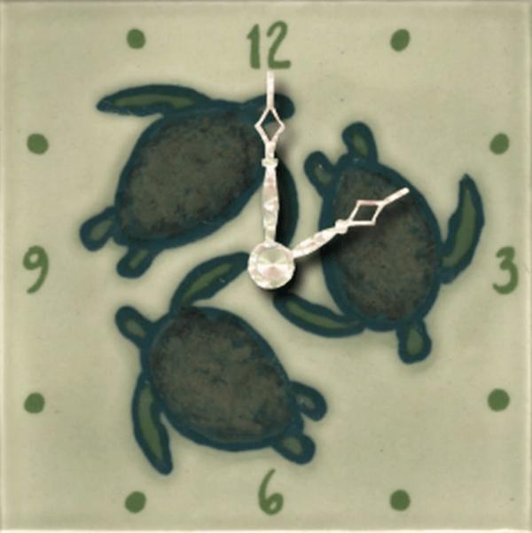 """Celadon Turtles 4"""" Clock"""