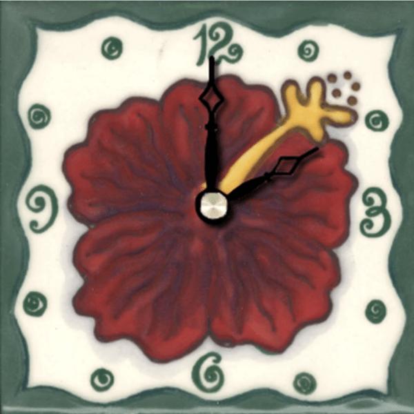 """Red Hibiscus 4"""" Clock"""