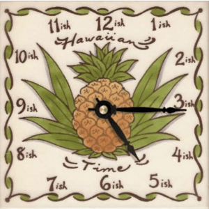 "Hawaiian Time Pine 6"" Clock"
