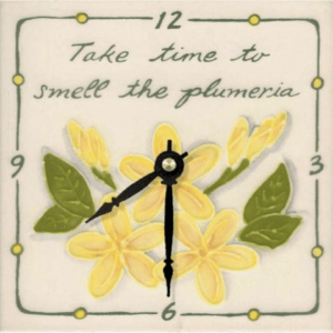 "Take Time Plumeria 6"" Clock"