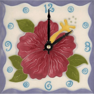 "Pink Hibiscus 6"" Clock"