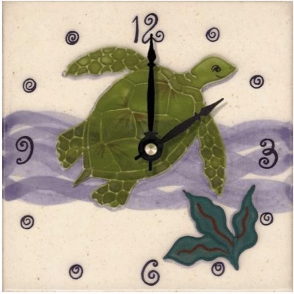 """Green Sea Turtle 6"""" Clock"""