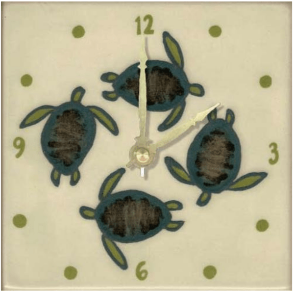 "Celadon Turtles 6"" Clock"