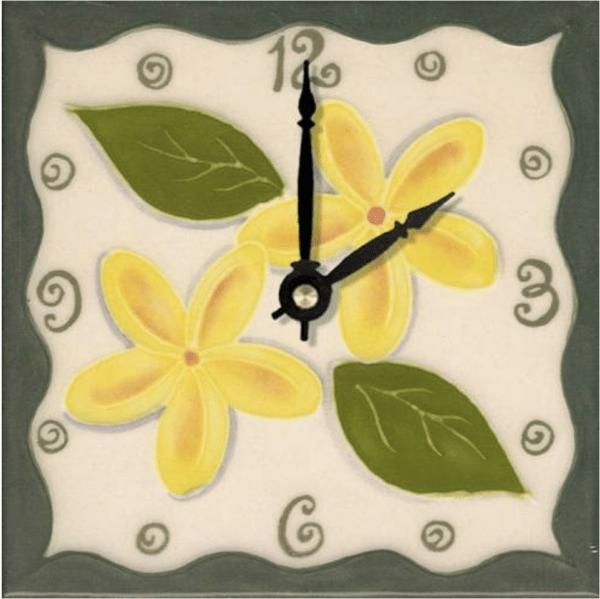 """Tropical Plumeria 6"""" Clock"""