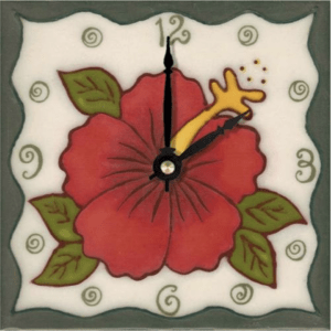 "Red Hibiscus 6"" Clock"