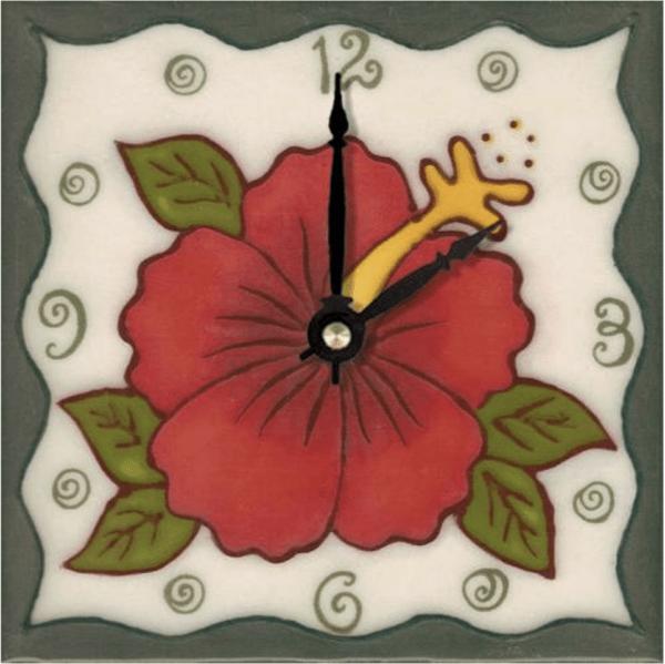 """Red Hibiscus 6"""" Clock"""