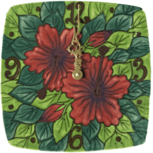 "8"" Square Plate Clock Red Hibiscus"
