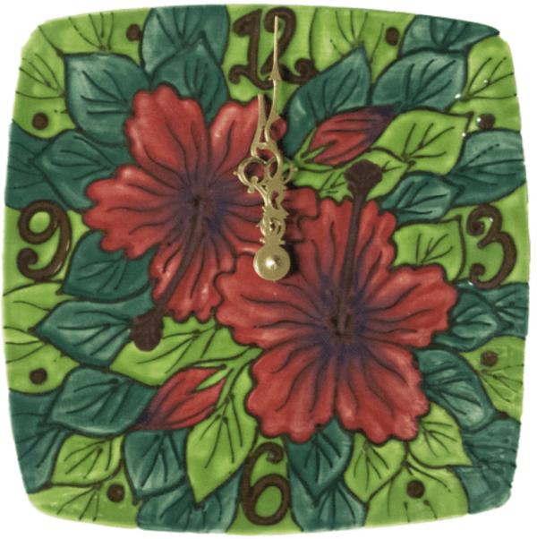 "8"" Square Plate Clock Red Hibiscus"