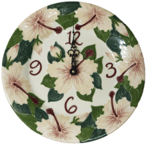 "Pink Hibiscus 11"" Round Plate Clock"