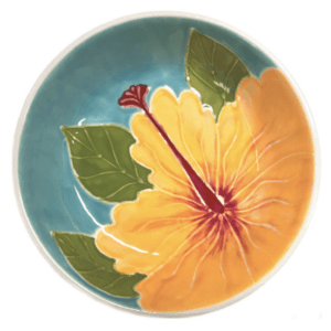 "8"" Coupe Pasta Bowl Embossed Yellow Hibiscus"