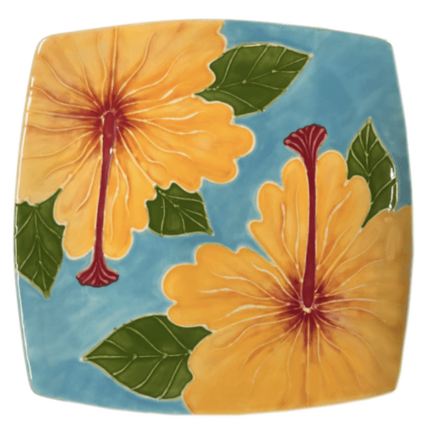 Square Plate Embossed Yellow Hibiscus