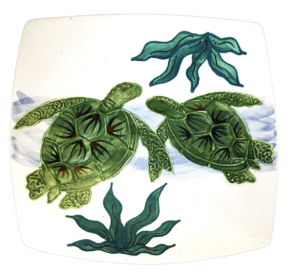 Square Dinner Plate Embossed Honu (Turtle)
