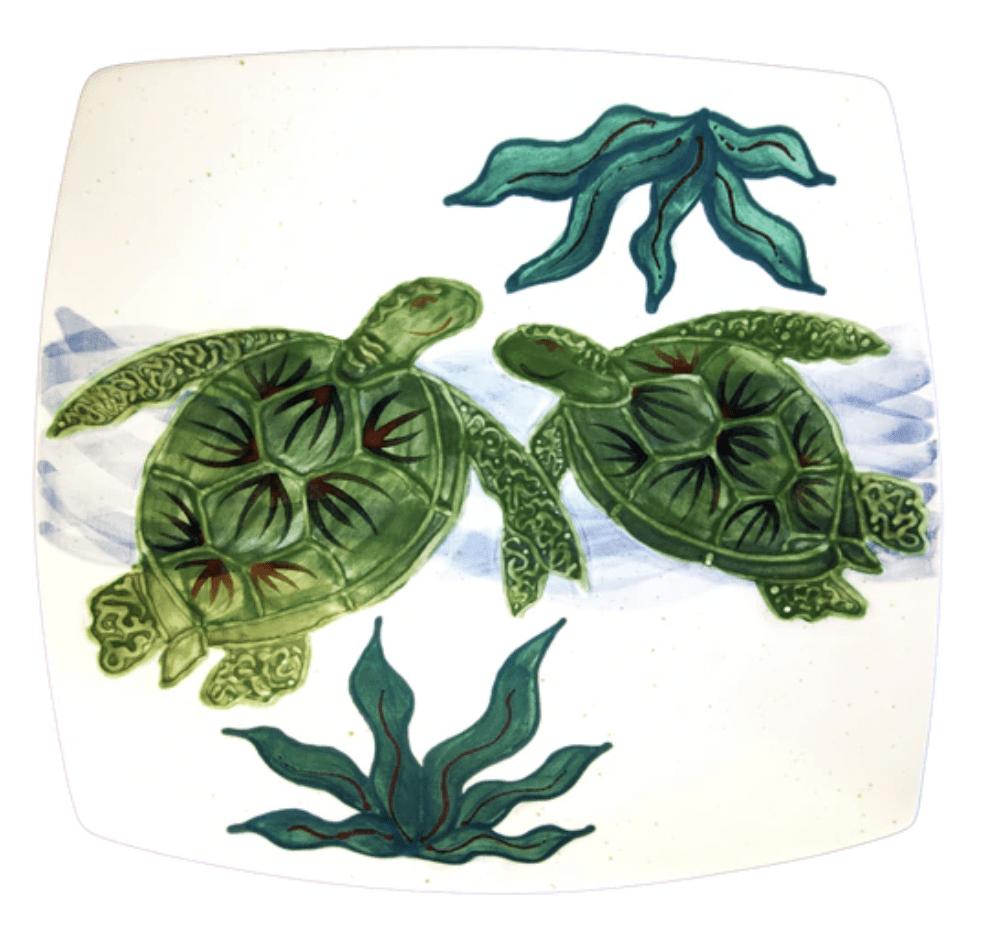 Square Dinner Plate Embossed Honu (Turtle)