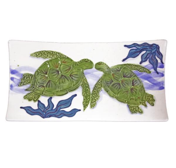 "15"" Swoop Sushi Rectangular Platter Embossed Honu (Turtle)"