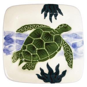 """8"""" Square Rim Salad / Dessert Plate Embossed Honu (Turtle)"""
