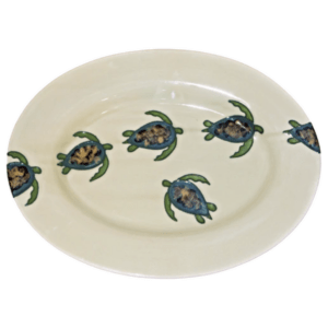 "15"" Oval Rim Platter Celadon Turtles"