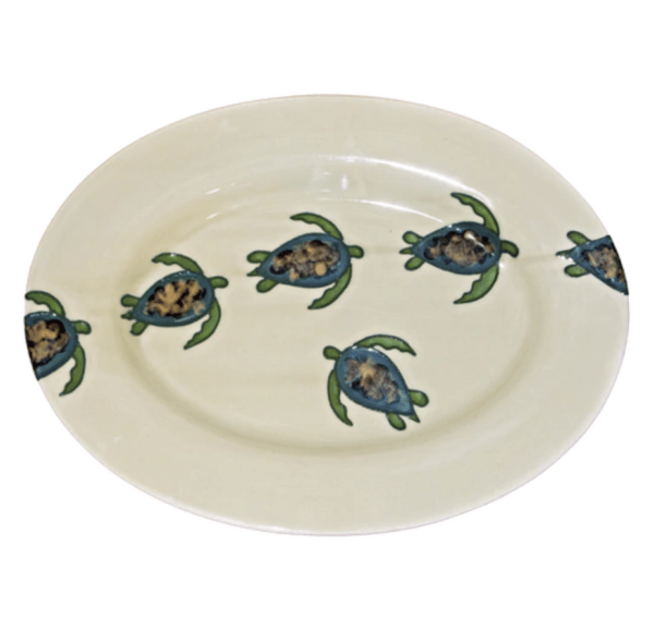 "15"" Oval Rim Platter Celadon Turtles"