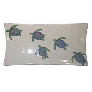 "15"" Swoop Sushi Rectangular Platter Celadon Turtles"