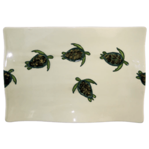 "14"" Flare Rectangular Platter Celadon Turtles"