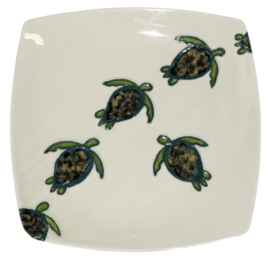 "11"" Square Dinner Plate Celadon Turtles"