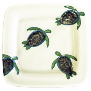 "15"" Square Rim Platter Celadon Turtles"