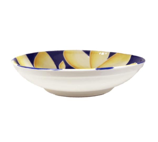 """12"""" Pasta Bowl Blue Plumeria"""