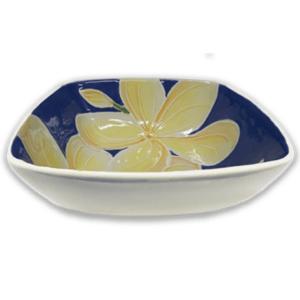 Square Bowl Blue Plumeria