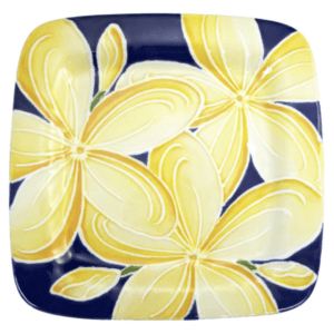 Square Rim Dinner Plate Blue Plumeria