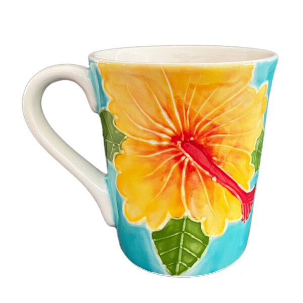 Flared Mug 16oz Yellow Hibiscus