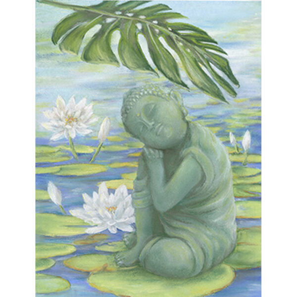 Buddha and Lily Pond Greeting Card