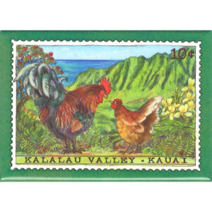 Hen & Rooster/Kalalau Valley 10 Cent Stamp Magnet