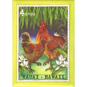 Hen & Rooster/Kauai 4 Cent Stamp Magnet