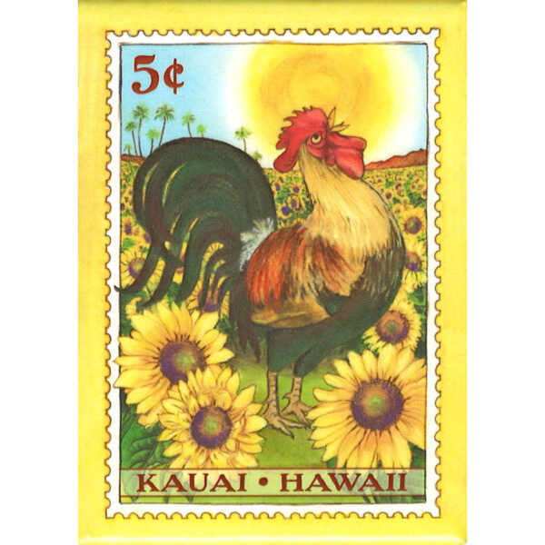 M-5 Kauai Rooster Sunflower 5 cent Magnet