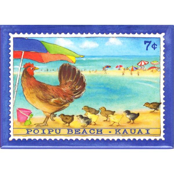 Hen & Chicks/Poipu Beach 7 Cent Stamp Magnet