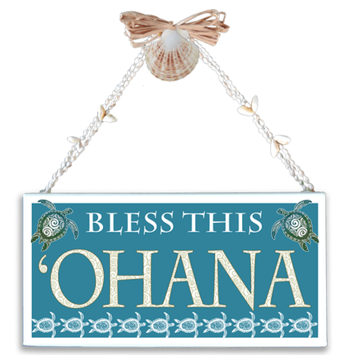 Bless This Ohana Varnished Canvas Sign