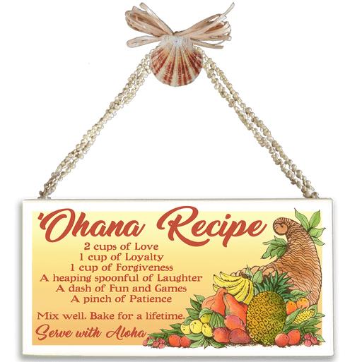 Ohana Recipe Varnished Canvas Sign