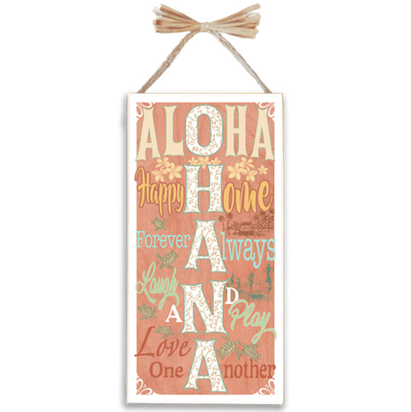 Aloha Ohana Varnished Canvas Sign