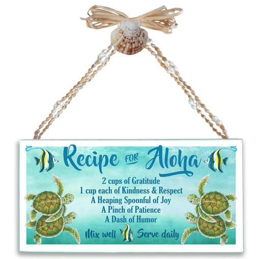 Recipe for Aloha (Turtles) Varnished Canvas Sign