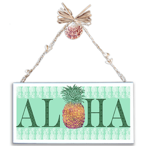 Aloha Pineapple Varnished Canvas Sign